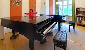 Unterricht mit Abstandsregeln an der Musikschule Philarmonika, Berlin-Charlottenburg/Wilmersdorf